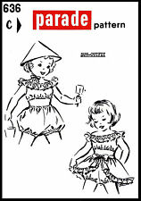 Sunsuit Playsuit & Hat Pattern BABY GIRL Child KIDS Parade Mail Order #636 3-4-5