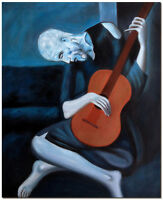 "Old Guitarist - 20x24"" Hand Painted Picasso Oil Painting On Canvas Wall Art"