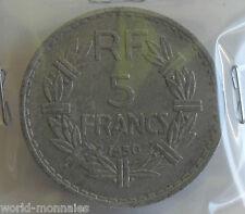 5 francs lavrillier alu 1950 : TB : pièce de monnaie française