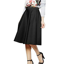 Women Fashion Stretch High Waist Skater SkirtS Flared Pleated Swing Solid Skirt�€'