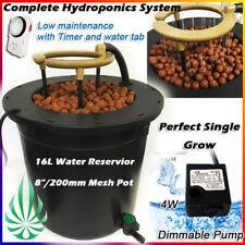 """HYDROPONIC 16L WATERING SYSTEM 8"""" NET POT DWC GROW KIT PUMP TIMER AUTO FEEDING"""