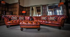 PAIR TETRAD OSKAR BROWN LEATHER CHESTERFIELD 2/3 & 3/4 SEATER SOFAS STOOL SUITE