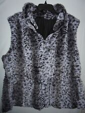 New Dress Barn Reversible Faux Fur & Quilted Nylon Vest Coat Black Gray Plus 3X