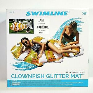 "Clownfish Glitter Pool Beach Float - Big Size 72""x37"" - SwimLine - Brand New"