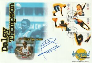 9 JULY 1996 OLYMPIC GAMES FDC HAND SIGNED BY DALEY THOMPSON SHS