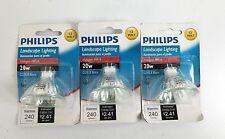 3 Philips 20W Halogen MR16 GU5.3 Base 12VDC Landscaping Light Bulbs