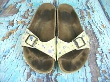 Details about Birkenstock Papillio Curacao Flower Frill Brown Black Stretch Slippers Sandals show original title