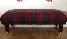 A Quality Long Footstool In Laura Ashley Tartan Burgundy Fabric
