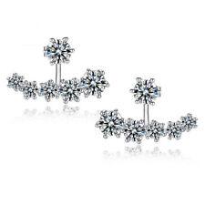 Women's Inlaid CZ Sterling Silver Plated Double Sided Ear Jacket Stud Earrings