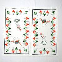 Vtg 50s Dish Towel Lot PARTY BALLOONS Mid Century Modern MCM 1950s Kitchen Linen