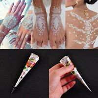 White Body Art Paint Ink Temporary Tattoo kit Natural Herbal Henna Cones Fashion