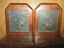 VINTAGE SAILING SHIP BOOKENDS OAK / PEWTER
