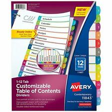 Avery 11843 Customizable Table Of Contents Dividers 12 Tabs Multicolor