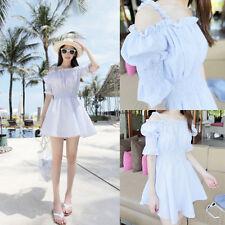Korean Summer Women Casual Strap Off Shoulder A Line Slim Sundress Beach Dress
