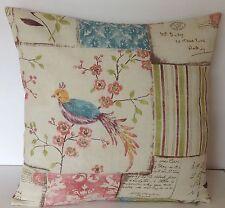 """Vintage Carte Postale Patchwork oiseau kashu Eau de Nil design zippé 16 """"coussin couverture"""