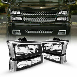 Headlights/Lamp Assembly For Chevy Silverado Chorme Housing Clear Side 2003-2006