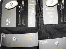 6 paires chaussette homme Fil d'Ecosse100% coton noir couleur fabrique en europe
