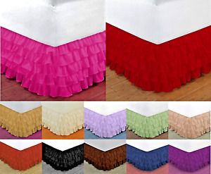 "1 Gypsy Solid Bed Ruffle Chiffon Skirt with Attached Platform, 20"" Inch Drop"
