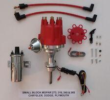 small cap SMALL BLOCK MOPAR 318, 340 & 360 RED HEI Distributor + Chrome 45K Coil