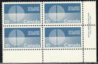 CANADA #513 10¢ United Nations Energy Unification LR Inscription Block MNH