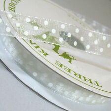 Three Kings Organza Dotty Ribbon. 7m Reel X 10mm. Various Colours. Bridal White