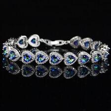 Women Holiday Jewelry Rainbow Blue Mystic Topaz Charm Silver Love Heart Bracelet