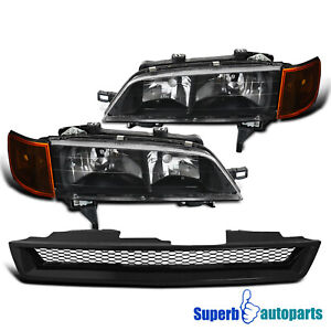 For 1994-1997 Honda Accord 2/4 Dr Headlights Black+Signal Lamps+Mesh Hood Grille