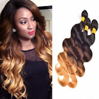 1 Pc Brazilian Virgin Human Hair bundles Ombre 3 Tone Body Wave Weave Extensions
