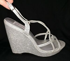 Dyeables Wedding Formal Heels  Sandals Shoes Dee Silver Glitter Womens 10 NEW