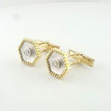 Carat Total Diamond Custom Made Cufflinks Mens 18K Luxuries Brilliant Round Half