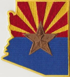 "50  Pcs Arizona Flag in Map Embroidered Patches 3.5""x3.5"" iron-on"
