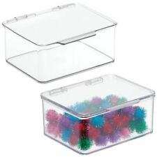 mDesign Stackable Plastic Craft, Sewing Storage Bin, Lid, Small, 2 Pack - Clear