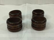 SET 4 KNOBLER WOODEN WOOD DARK TONE NAPKIN RINGS RIBBED