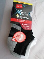 5 Pair Hanes Xtreme Temp Sport Comfort No Show Socks Medium Black WhiteStrip 5-9