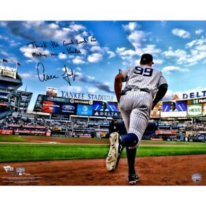"""AARON JUDGE Autographed """"Thank The Lord"""" Yankees 16"""" x 20"""" Photo FANATICS"""