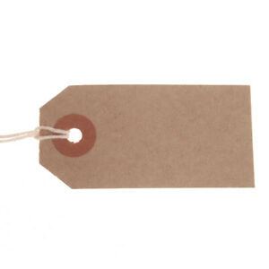 100 x Card Gift Tags Strung Brown Buff Wedding Name Cards Present Labels Luggage