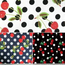 100% Cotton Fabric Fruity Cherry Cherries and Polka Dots Spots 150cm Wide