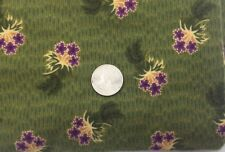 FLANNEL FABRIC GREEN PURPLE Yellow MARCUS Flower Floral Cotton Fabric Vtg 610