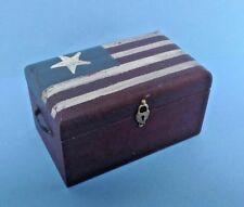 Dollhouse Miniature Americana Patriotic Flag Handcrafted flat top Trunk 1:12