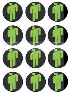 Billie Eilish Logo Green Man on 12 Edible Cup Cake Cupcake Toppers Bilie Eillish
