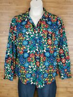 Merona Multicolor Psychedelic Paisley Half Button Up Blouse Womens Size XL EUC
