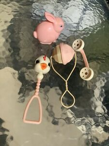 4 Antique Baby Rattlers Plastic Shaker Beads Chicken Rattle Pink & White Toy