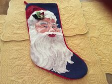 Vintage Needle Point Santa Christmas Stocking With Holly Leaves And Small Bell