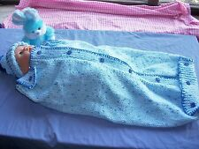 BABY SLEEPING BAG KNITTING PATTERN. PAPOOSE, COCOON.VERY EASY TO KNIT.