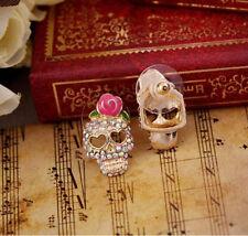 Fashion Cute Pink Rose Rhinestone  Skeleton Skull Ear Stud Earrings Jewelry Ey