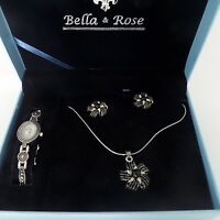 Bella & Rose Jewelry Box Set Watch Necklace Earrings Silver Tone & Black Beads