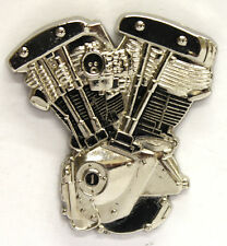Harley Davidson Shovelhead Motor Enamel Pin Badge from Fat Skeleton