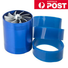 New Double Fan Air Intake Supercharger Turbo Turbine Fuel Gas Saver Fan Blue AU