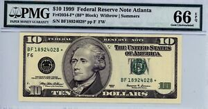 $10 1999 Federal Reserve Note Atlanta  Fr#2034-F* (BF* Block)  PMG 66 EPQ
