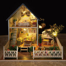 Wooden Dollhouse Miniatures DIY Beach Cottage Kit LED Light House Home Decor
